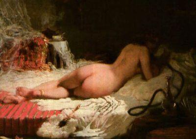 Nu couche au Narguile de Gilbert Alexandre de Severac (Francia, 1834-1897)