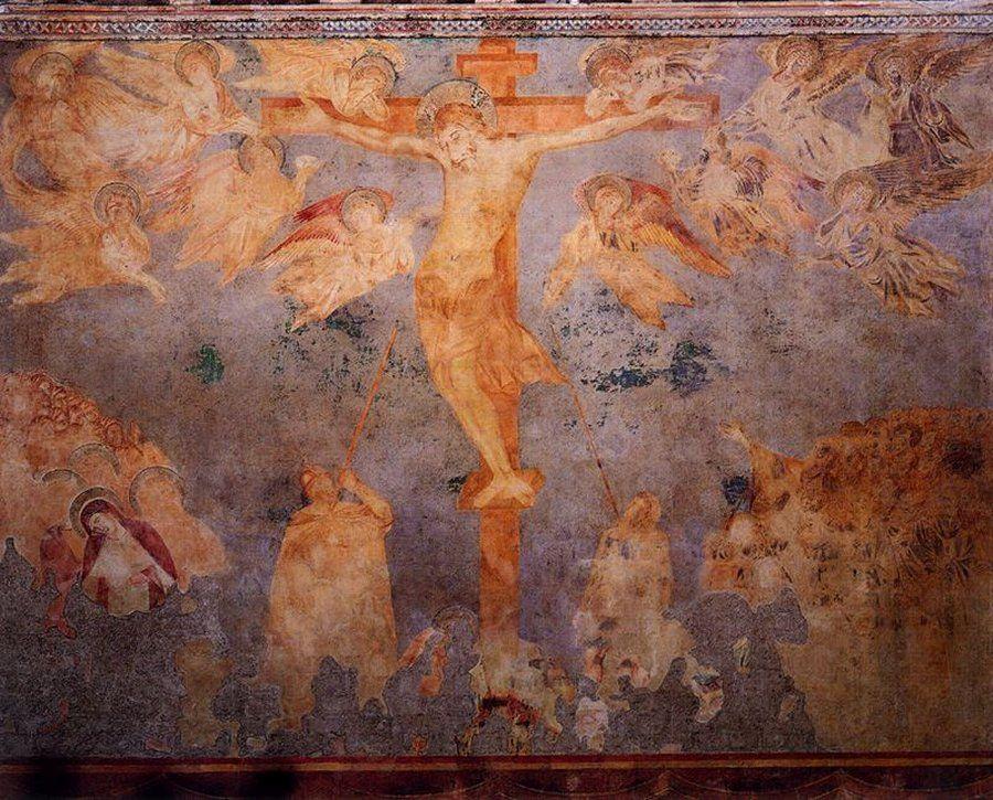1260, La Crucifixión de Giovanni Cimabue (Basílica de San Francisco de Asís, Italia)