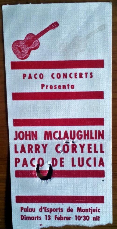 Concierto de Paco de Lucía, John McLaughlin y Larry Coryell el 13 de febrero de 1979, en el Palau d'Esports de Barcelona.