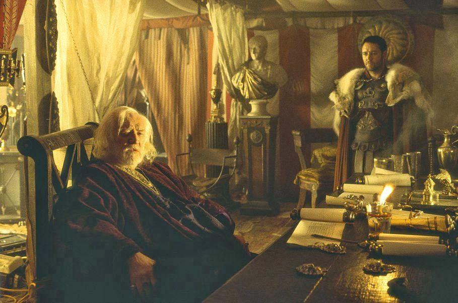 Conversación de Marco Aurelio con Máximo en Gladiator
