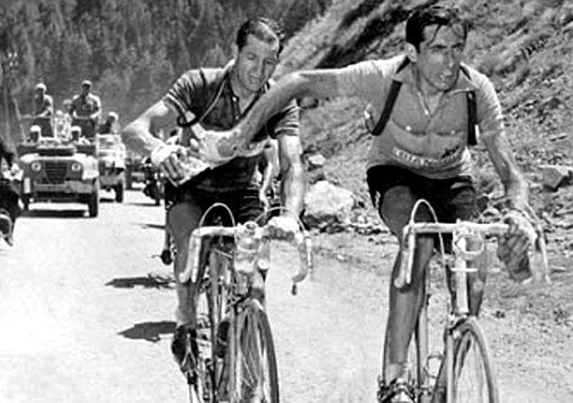 Bebe, que aun queda, Fausto Coppi a Gino Bartali