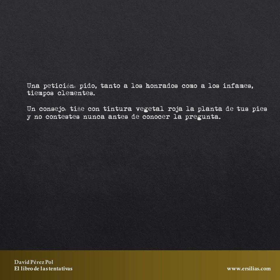 Una petición pido Poema nº 24 de El libro de las tentativas de David Pérez Pol