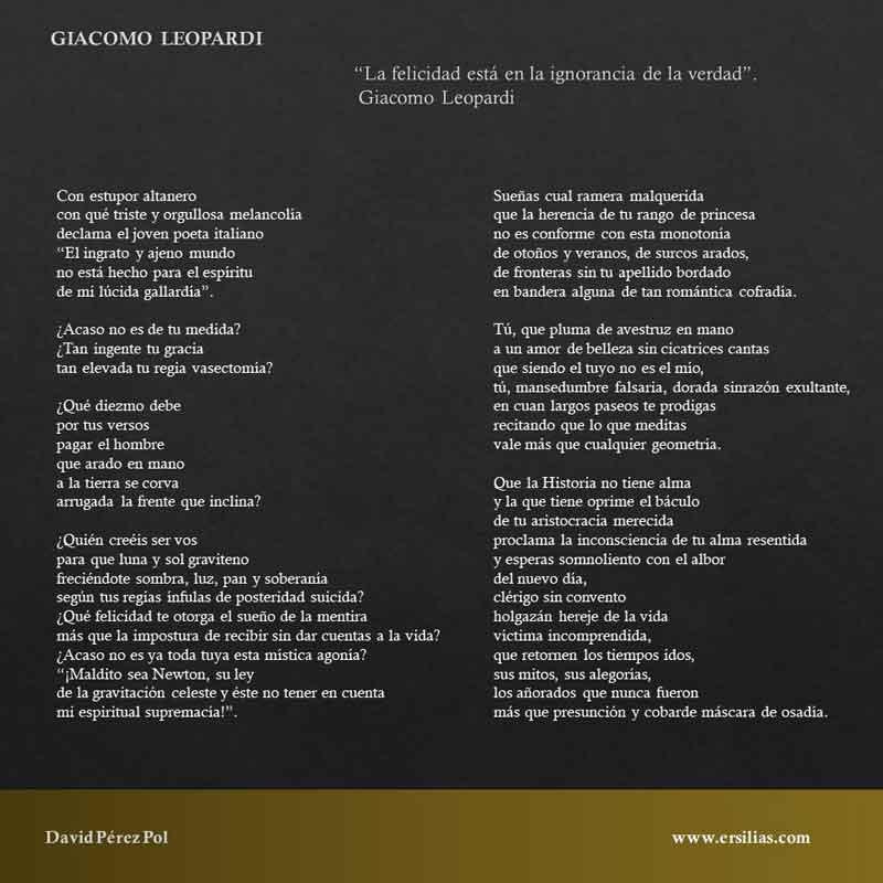 Giacomo Leopardi, poema de David Pérez Pol