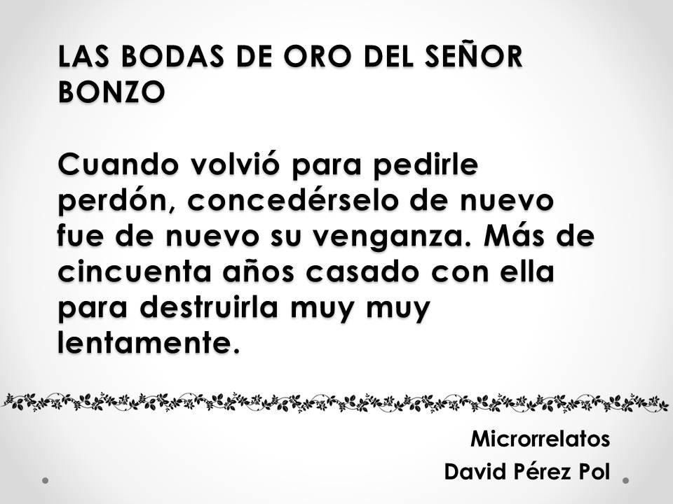 Las bodas de oro del Sr. Bonzo, microrrelato de David Pérez Pol