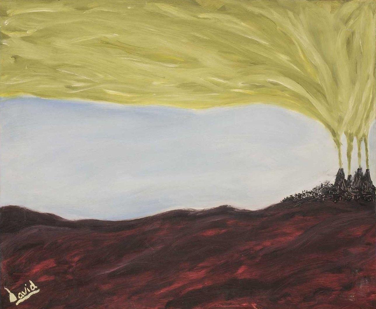Paisaje con volcanes (pintura al óleo)