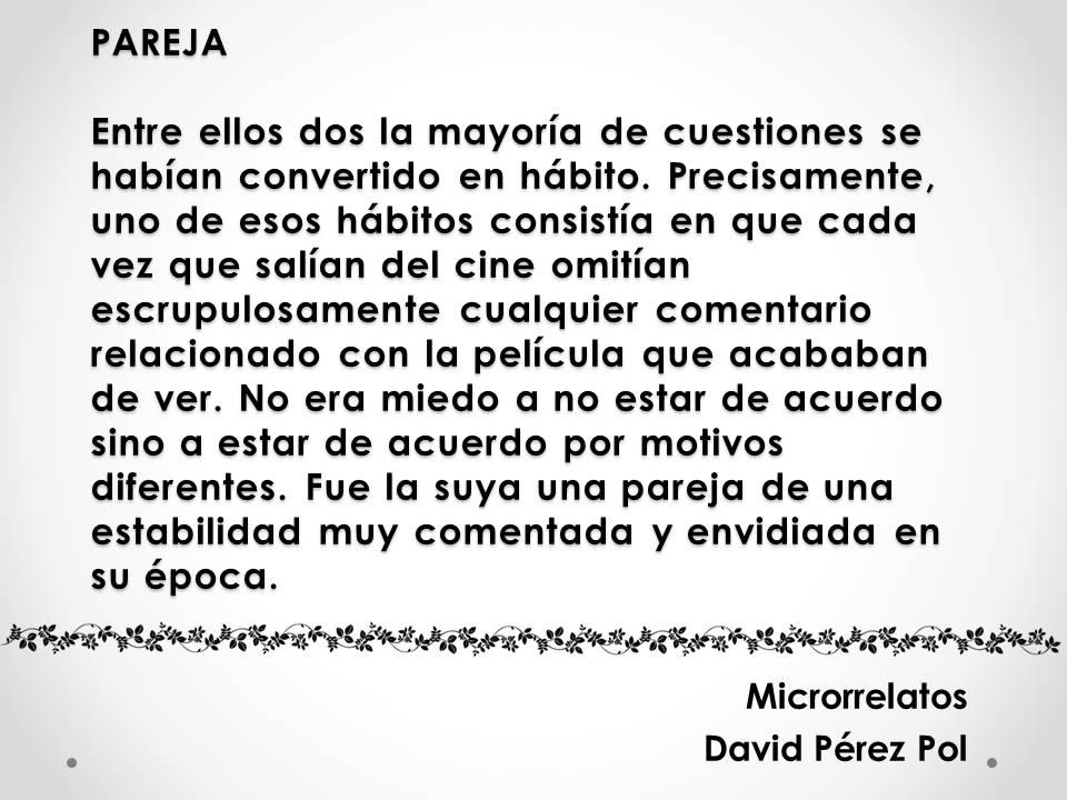Pareja Microrrelato nº 21 de David Pérez Pol