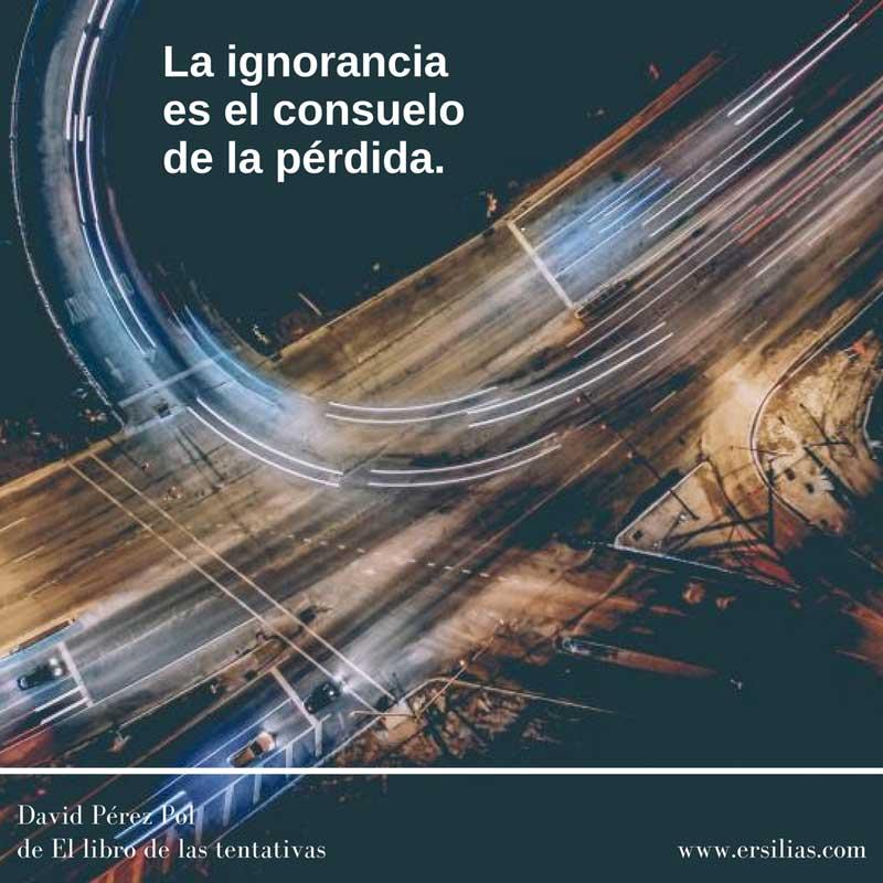 La ignorancia Poema nº 50 de David Pérez Pol de El libro de las tentativas