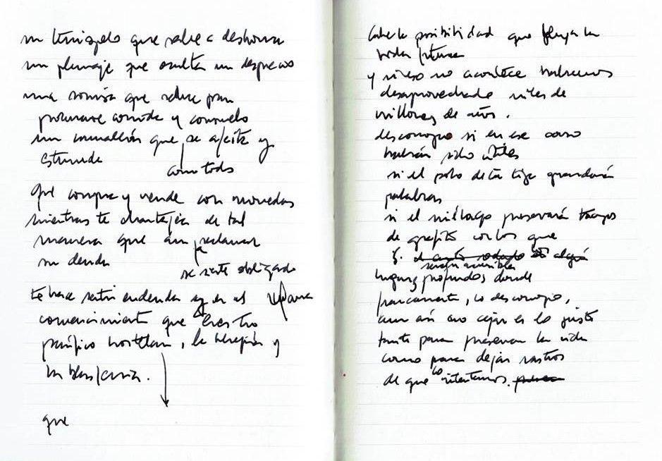 Un terciopelo que sabe a deshonra Texto manuscrito nº 1