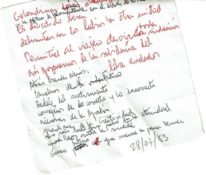 Anotaciones a vuela pluma Texto manuscrito nº 14