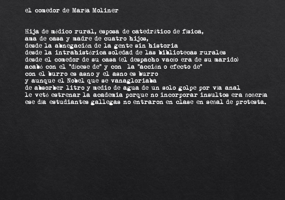 El comedor de María Moliner