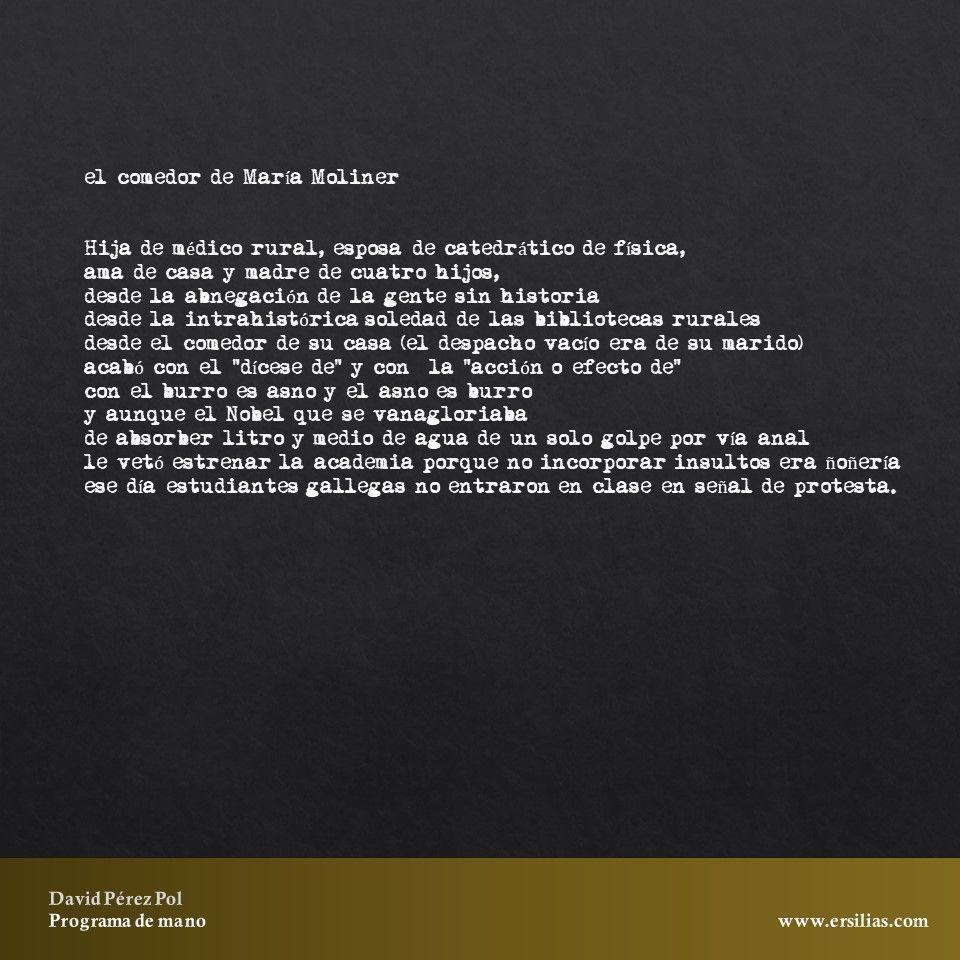 El comedor de María Moliner de Programa de mano de David Pérez Pol