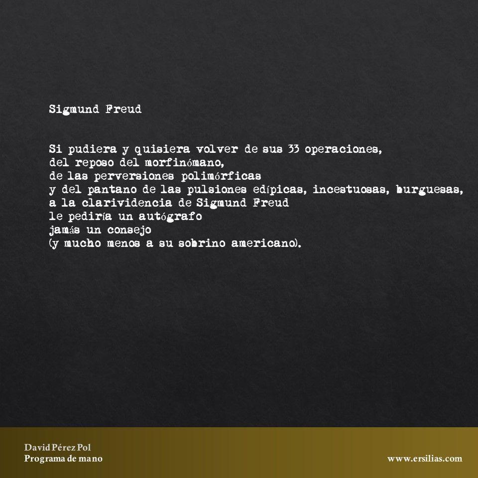 Sigmund Freud de Programa de mano de David Pérez Pol