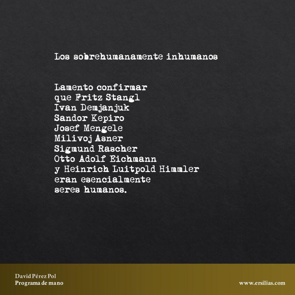 Los sobrehumanamente inhumanos de Programa de mano de David Pérez Pol