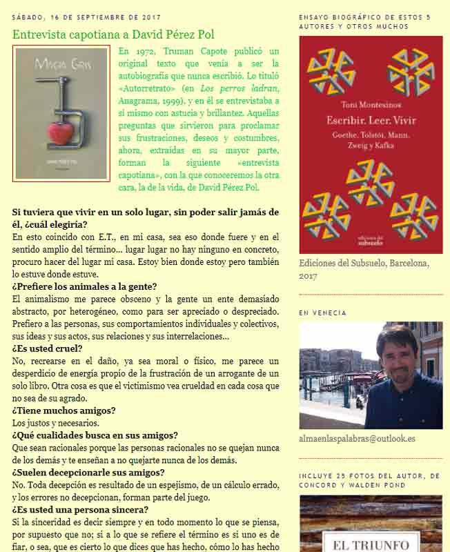"""Entrevista capotiana en el blog """"Alma en las palabras"""" de Antonio Montesinos."""