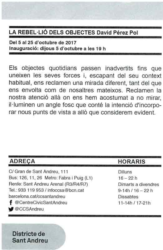 Exposición de Poesía Visual Centre Cívic Sant Andreu: del 5 al 25 de octubre de 2017