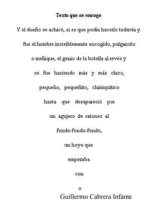 Poesía Visual, Caligrama de Guillermo Cabrera Infante