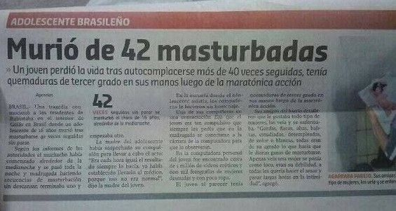 Noticia nº 58 - Murió de 42 masturbadas
