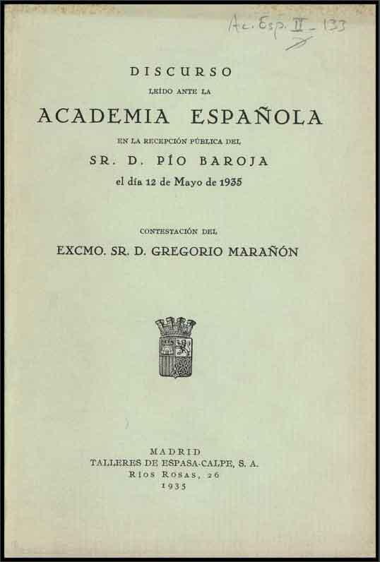 Discurso de Pío Baroja en su ingreso en la RAE el 12 de mayo de 1935