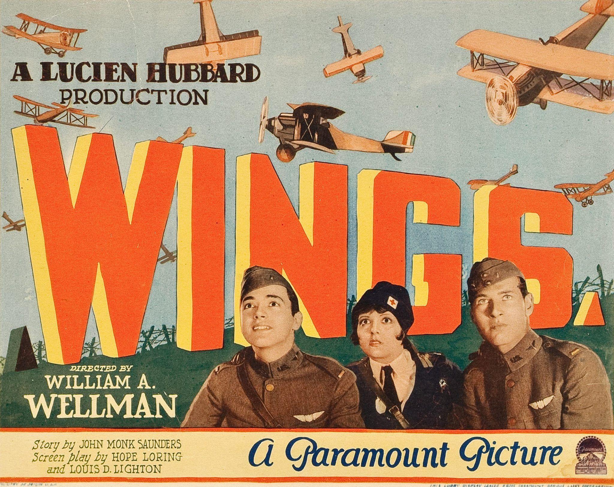 Travelling película Wings (Alas) de William A. Wellman, 1927