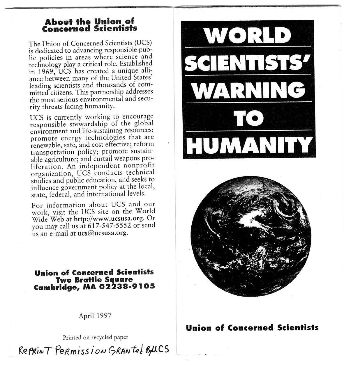 Una advertencia de los científicos del mundo a la humanidad, 1992