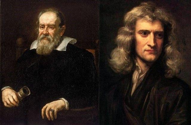 Gracias Lucrecio, gracias Galileo, gracias Newton, Isaac Newton y Galileo Galileo